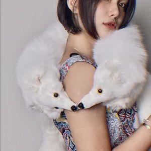 Handmade designed wild Snow White  Fox fur scarf